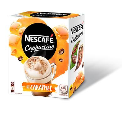 Nescafe Cappuccino Vị Caramel (hộp 10 gói x 20 g)
