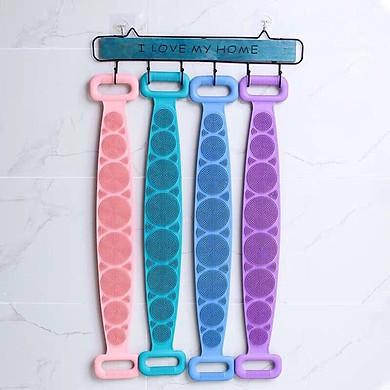 Đai tắm chà lưng silicon, đai cọ lưng massage silicon (giao màu ngẫu nhiên)