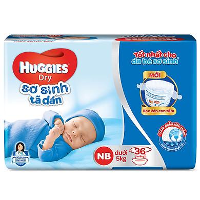 Tã Dán Sơ Sinh Huggies Dry Newborn NB36 (36 Miếng) - Bao Bì Mới