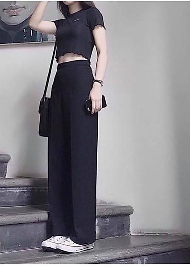 Quần culottes ống rộng dài