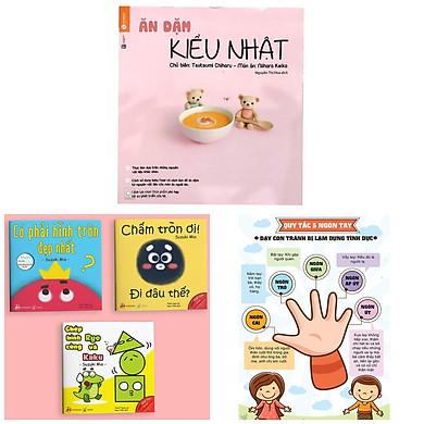 Combo Sách Nuôi Con & Truyện Ehon Nhật Bản 0 - 3 Tuổi: Ăn Dặm Kiểu Nhật + Ehon Sự Kỳ Diệu Của Hình Khối + Poster An Toàn Cho Con Yêu (Bộ sách dinh dưỡng cho bé & truyện tranh ehon kích thích trí não trẻ)