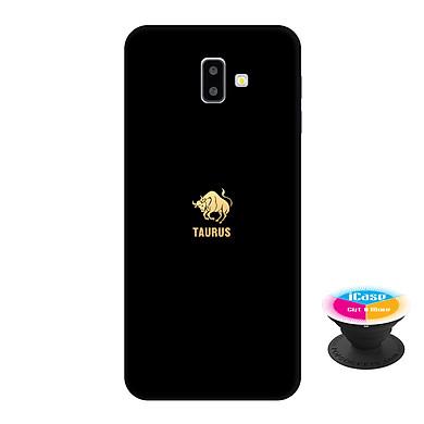 Ốp lưng nhựa dẻo dành cho Samsung J6 Plus in hình Taurus - Tặng Popsocket in logo iCase - Hàng Chính Hãng