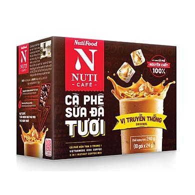 Cà Phê Hoà Tan Sữa Đá Tươi Nuticafé Hộp 10 Gói x 24g