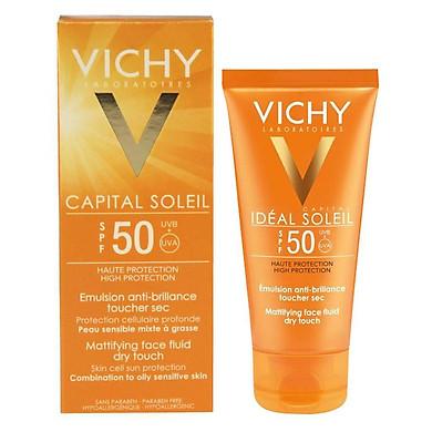 Kem Chống Nắng Bảo Vệ Da Mặt Không Gây Nhờn Rít Vichy Ideal Soleil Mattifying Face Fluid Dry Touch SPF50 50ml