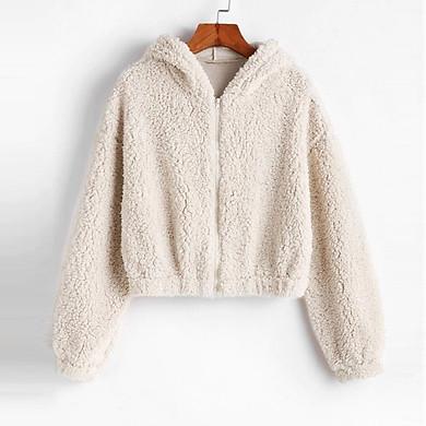 Fashion Women Solid Zipper Long Sleeve Plush Sweatershirt Hoodie Tops