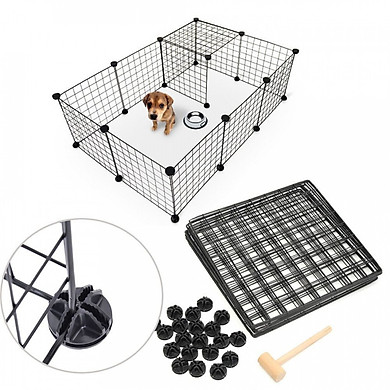 Combo 4 miếng Mảnh ghép chuồng chó đa năng kích thước 35x35cm tặng kèm 8 chốt nhựa để lắp ghép quây chó mèo, lắp ghép kệ