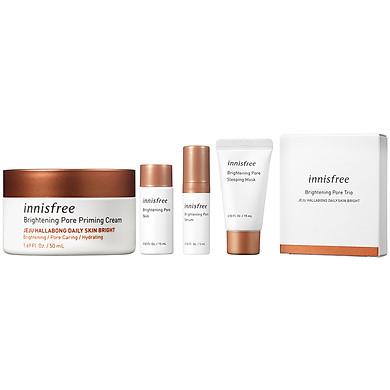 Kem Dưỡng Sáng Da 3 Trong 1 Innisfree Brightening Pore Priming Cream 50ml + Bộ Kit Brightening Pore Hallabong