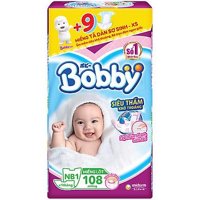 Miếng Lót Sơ Sinh Bobby Fresh Newborn 1 - 108 (108 Miếng) + 9 Miếng Tã Dán Sơ Sinh Size XS