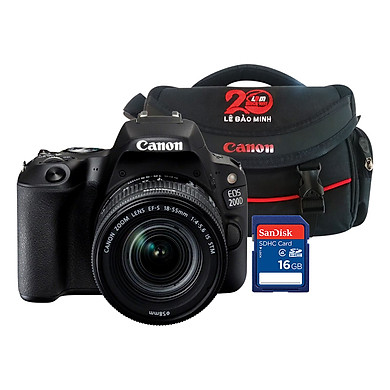 Máy Ảnh Canon EOS 200D Kit 18-55mm (Đen)  - Hàng Chính Hãng - Tặng Kèm Thẻ Nhớ Và Túi Đựng Máy Ảnh