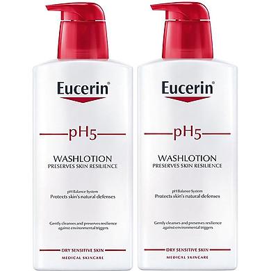 Combo 2 Sữa Tắm Dành Cho Da Nhạy Cảm Eucerin pH5 Washlotion Có Mùi 400ml