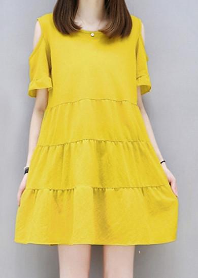 Váy đầm dạo phố nữ tính đệu đà chất đũi xịn siêu mát (TRỄ VAI VÀNG)- HÀNG CAO CẤP (BO)