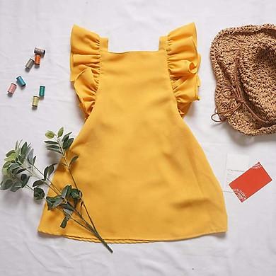 Đầm Cánh Tiên Chun Lưng – Vàng DA117