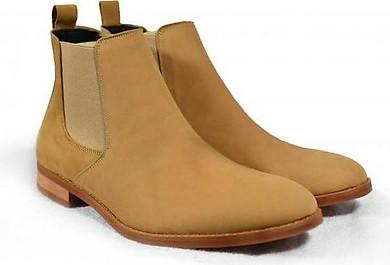 Giày Chelsea Boot Tathanium Nam Màu Vàng Nghệ Da Nubuck TFTNN8812