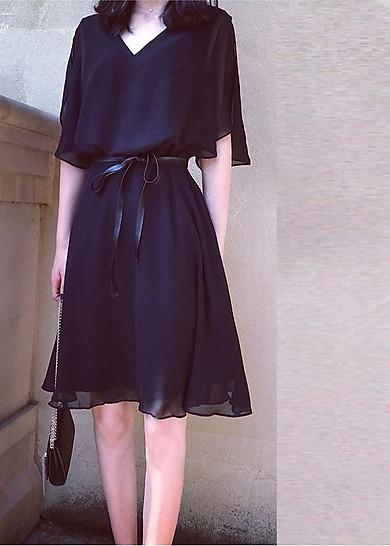Váy đầm hai lớp kèm đai da chiết eo siêu xinh ( màu đen) Tặng ngay 1 kính thời trang