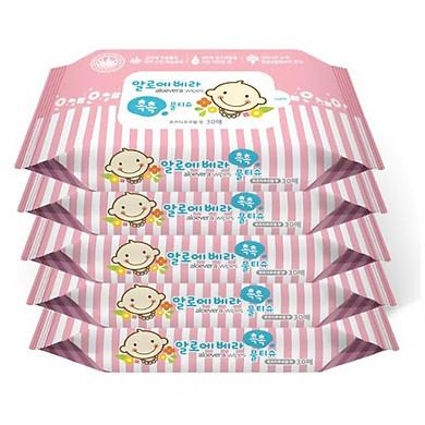 Bộ 5 gói khăn giấy ướt Hàn Quốc Living Aloe Vera Chok Chok - loại 30 tờ/gói