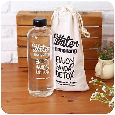 Bình Đựng Nước Water Pongdang Detox 1000ml + Tặng Kèm Túi Vải Dây Rút