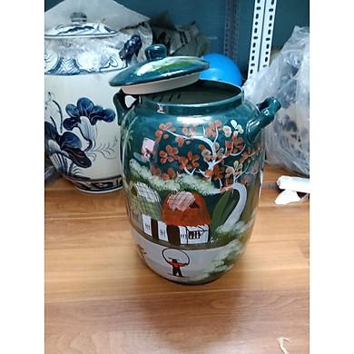 Hũ đựng gạo 25kg men xanh ngọc gốm sứ Bát Tràng