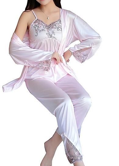 Bộ đồ mặc nhà chất phi lụa mềm mát kèm áo choàng
