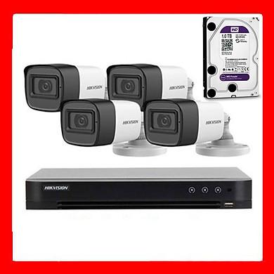 Trọn bộ 4 Camera HIKVISION tích hợp MIC thu âm DS-2CE16D0T-ITFS hồng ngoại 2.0M – Hãng chính hãng