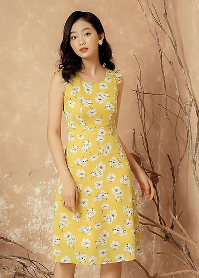 Đầm Họa Tiết Hoa Vàng Gumac MS129107