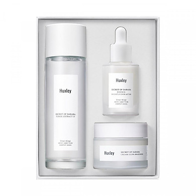 Set 3 sản phẩm dưỡng trắng sáng da, làm mờ thâm Huxley Brightening Trio Set (Huxley Toner; Extract It 120ml + Huxley Essence; Brighly Ever After 30ml + Huxley Cream; Glow Awakening 50ml)