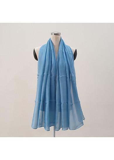 Khăn Lụa Tơ Tằm màu xanh da trời mềm mại, nhẹ bay, chất liệu thật 100% giá tốt
