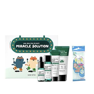 Bộ Kit 4 Món Dưỡng Da Làm Giảm Mụn Some By Mi AHA - BHA - PHA 30 Days Miracle Solution 4- Step Kit +Tặng Kèm 1 Túi Lưới Rủa Mặt Tạo Bọt