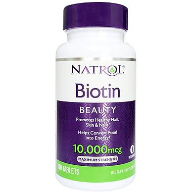Thực phẩm chức năng bảo vệ sức khỏe Natrol Biotin Beauty 10000 mcg - Hộp 100 viên