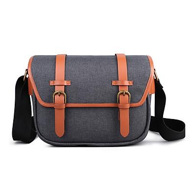 K&F CONCEPT Camera Shoulder Bag Messenger Bag Removable Divider for 1 Camera Body and 2 Lens with Cleaning Kit for DSLR