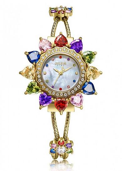 Đồng hồ nữ Julius Hàn Quốc Star JS-021 mặt đính đá ngũ sắc