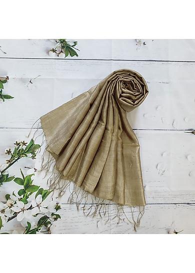 Khăn Lụa Tơ Tằm màu vàng olive - sản phẩm thủ công truyền thống Việt nam