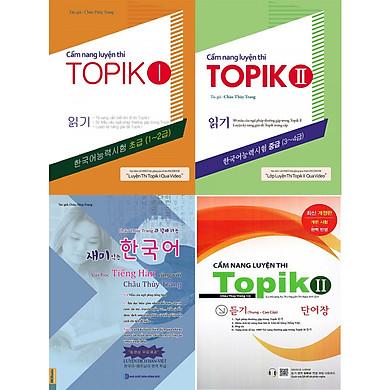 Trọn bộ 4 cuốn luyện thi topik và sách học tiếng hàn cùng châu thuỳ trang tặng 5 cuốn truyện song ngữ bìa mềm anh việt
