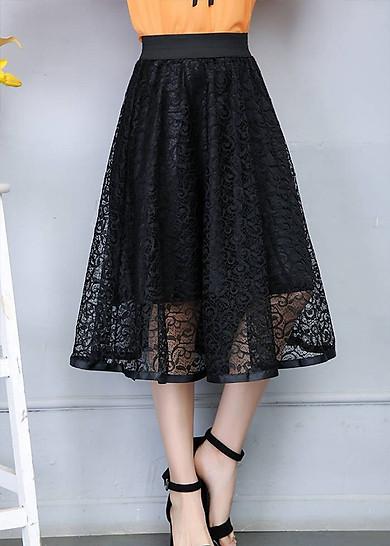 Chân váy xòe tròn ren hoa cao cấp