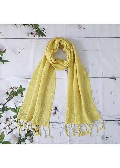 Khăn Quàng Đũi Tơ Tằm thiên nhiên 100% mềm xốp và ấm áp (màu vàng)