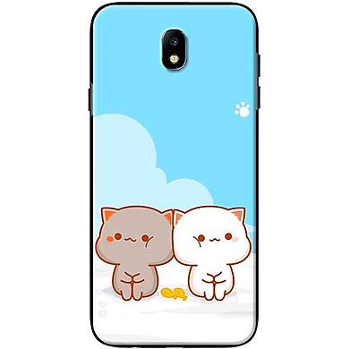 Ốp Lưng Dành Cho Điện Thoại Samsung Galaxy J7 Pro Mèo Mập Nền Xanh