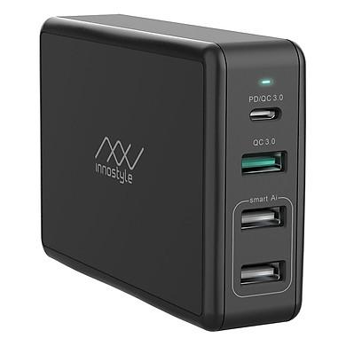 Adapter Sạc 4 Cổng Cho Macbook Innostyle Gomax Pro 80W Tích Hợp USB Type-C Power Delivery Hỗ Trợ Sạc Nhanh Quick Charge 3.0 - Hàng Chính Hãng