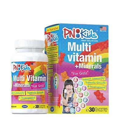 Kẹo gummies PN Kids Multi Vitamins for Girls, bổ sung vitamin bé gái (30 viên) KBM01