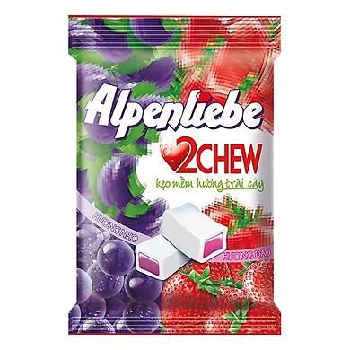 Kẹo Mềm Alpenliebe 2Chew Hương Hỗn Hợp Dâu & Nho (Gói 25 Viên)