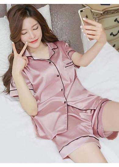 Đồ bộ ngủ nữ sét đồ pijama lụa thêu họa tiết