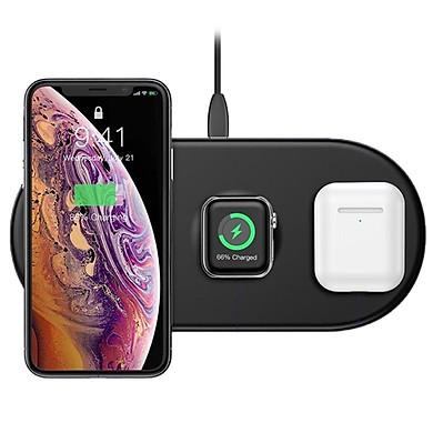Đế sạc nhanh không dây 3 in 1 hỗ trợ sạc cho Apple Airpods / Appe Watch / Smartphone hiệu Baseus Dual Smart Wireless Charging P (Công suất 18W, Wireless Quick charge, chuẩn Qi Apple) - Hàng chính hãng