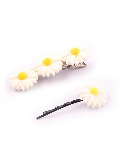 Set 2 kẹp tóc hoa cúc họa mi (Tặng móc khóa gỗ BTS thiết kế độc quyền)