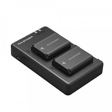 Bộ 2 pin và sạc đôi RavPower NP-FW50 cho Sony A6000, A6300, A6500, A7, A7 II, A7R, A7S... - Hàng chính hãng