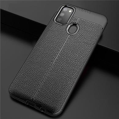 Ốp lưng silicon dẻo giả da Auto Focus cao cấp dành cho Samsung Galaxy M21 - Hàng chính hãng