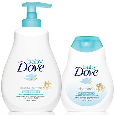 Combo Dầu Gội Và Sữa Tắm Gội Toàn Thân Baby Dove Nuôi Dưỡng Chuyên Sâu (200ml & 400ml)