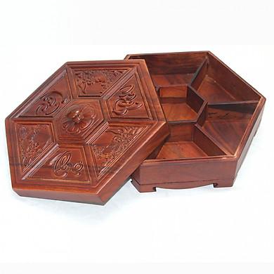 Khay mứt tết - hộp đựng mứt tết gỗ hương chạm Phúc Lộc Thọ K668