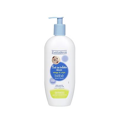 Sữa tắm dịu nhẹ cho bé tắm ướt hoặc khô Lait De Toilette Bebe Evoluderm 500ml - 9134