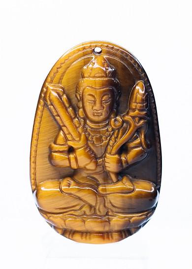 Mặt dây chuyền Hư Không Tạng Bồ Tát mắt hổ vàng size lớn (4,5x3cm) - Phật bản mệnh cho người tuổi Sửu, Dần - Kèm sẵn dây đeo - VietGemstones