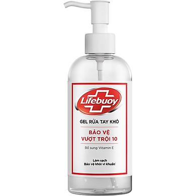Gel Rửa Tay Khô Sạch Siêu Nhanh Lifebuoy Bảo Vệ Vượt Trội 10 (Chai Vòi 235ml)