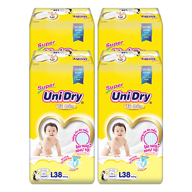 Combo 4 Tã Dán Cho Bé UniDry (G6+) size L38 (38 Miếng)