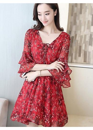 Đầm Voan Hoa Tay Lửng Xinh MAY_DNR650